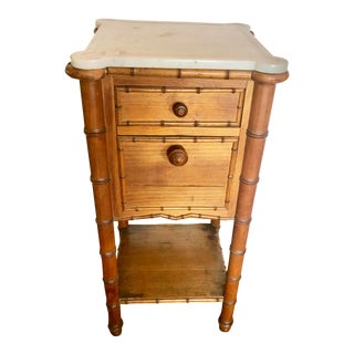 1940s Charming Marble Top Burnt Bamboo Side Table For Sale
