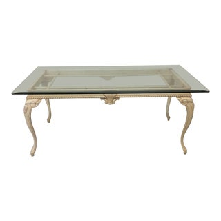 French Country Style Wood Glass Top Dining Table For Sale