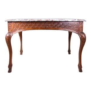 19th Century Louis XIV Regency Walnut Ladies' Writing Desk With Fitted Marble Top, Side Table With Storage Drawers For Sale