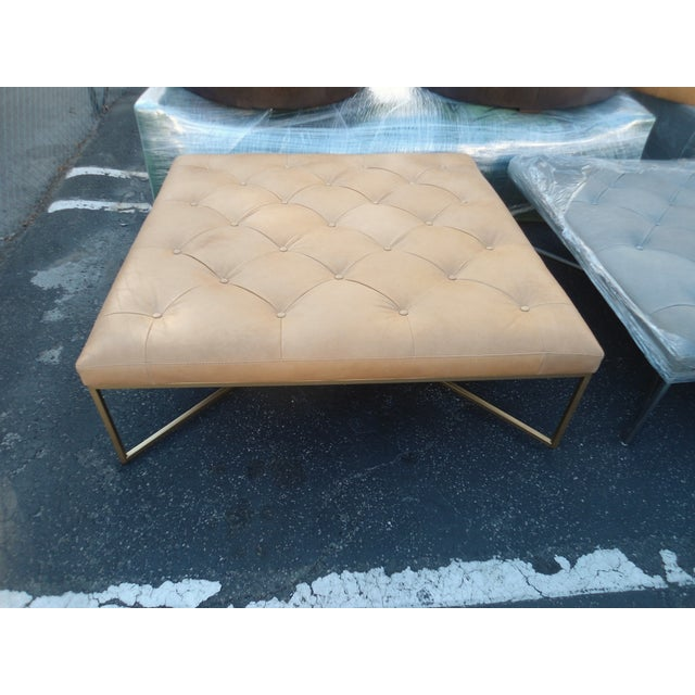Tufted Square Charme Tan Leather Ottoman W/ Gold Legs For Sale - Image 5 of 5