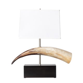 South African Cow Horn Table Lamp on Wood Base For Sale