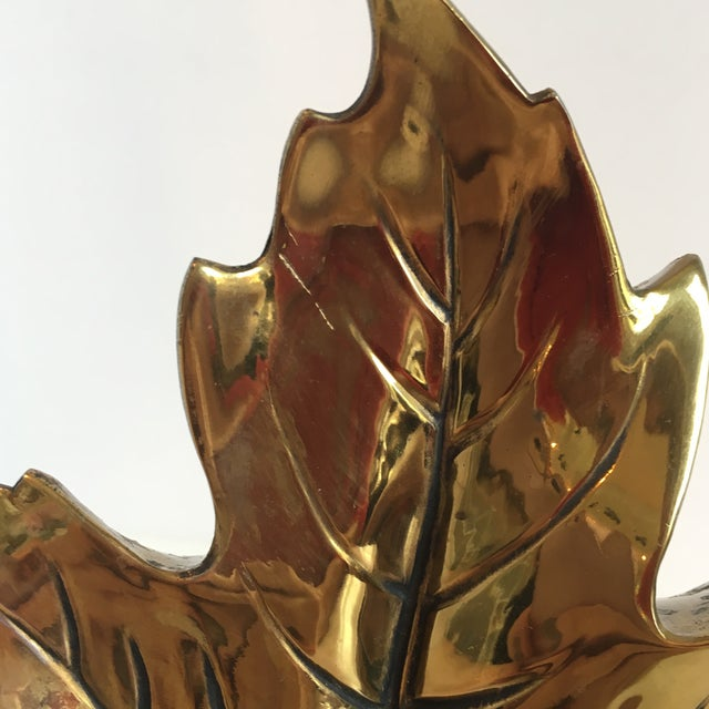 Gold Vintage Brass Leaf Bookend For Sale - Image 8 of 9