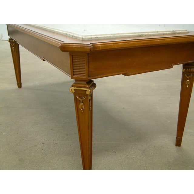 Circa 1940 France Maison Jansen Marble and Mahogany Coffee Table For Sale In Richmond - Image 6 of 9