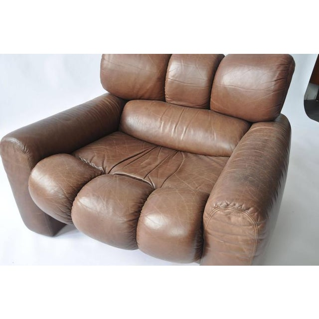 Large Scale 1970s Leather Lounge Chair For Sale - Image 4 of 7
