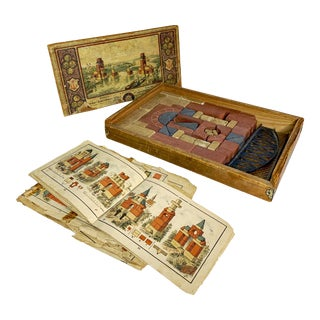 1904 Richter's Anchor Toy Stone Building Blocks With Wooden Box For Sale