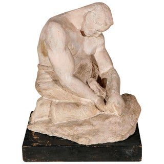 1930s Figurative Sculpture of a Man in Thought