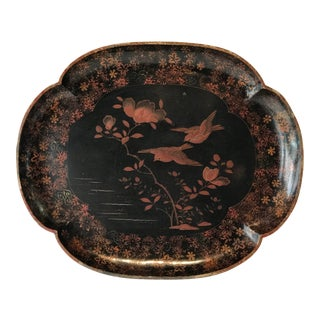 Paper Mach'e Tray With Birds For Sale