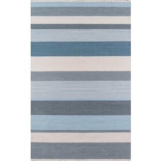 """Erin Gates Thompson Brant Point Blue Hand Woven Wool Area Rug 5' X 7'6"""" For Sale"""