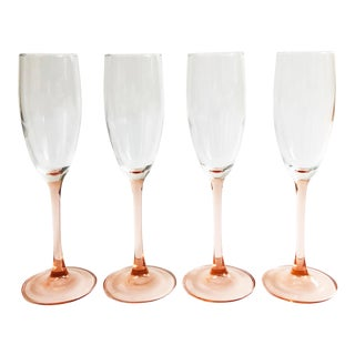 Vintage Pink Stem Champagne Glasses - Set of 4 For Sale