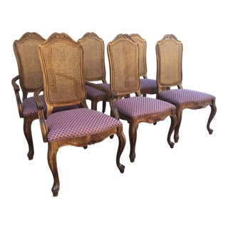 Set of 6-Century Furniture Cane Back Dining Chairs For Sale