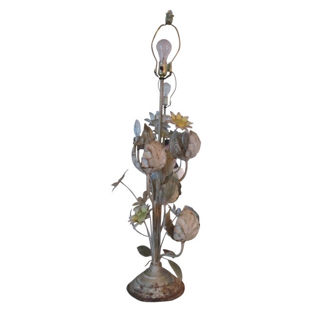 Vintage Toleware Style Floral Table Lamp For Sale