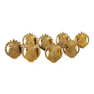 Vintage Brass Pineapple Napkin Rings Set of Eight For Sale