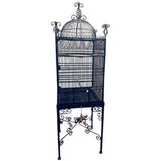 Victorian Style Antique Solid Brass Ebony Painted Monumental Bird Cage For Sale