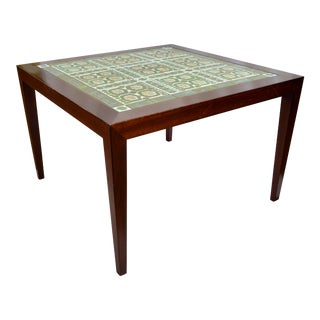 1980s Danish Modern Tile Coffee Side Table For Sale