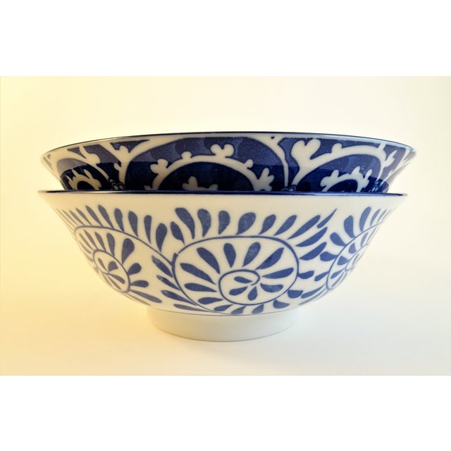 Chinoiserie Blue & White Serving Bowls - A Pair For Sale - Image 9 of 11