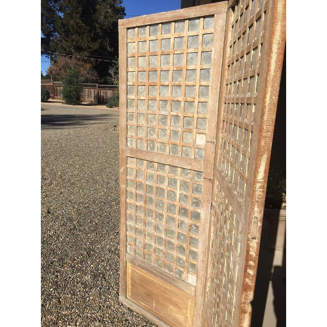 Asian Antique Capiz Shell Two-Panel Hinged Screen For Sale - Image 3 of 6
