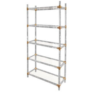 Charles Hollis Jones Faux Bamboo-Lucite and Brass Etagere For Sale