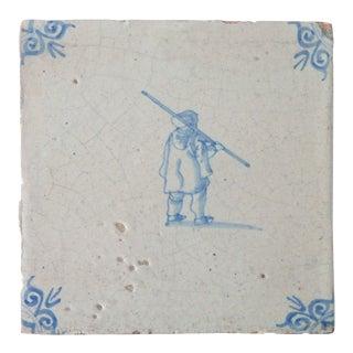 17th Century Antique Delft Tile Blue White Porcelain Tile For Sale