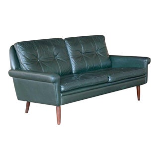 Sven Skipper Danish 1960s Two-Seat Sofa in Dark Racing Green Leather For Sale
