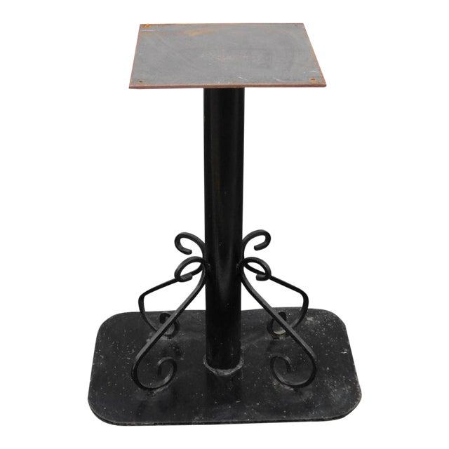 Antique Black Painted Art Deco Cast Iron Table Base For Sale