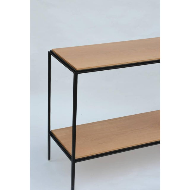 Contemporary Wrought Iron and Oak 'Rectiligne' End Tables by Design Frères - a Pair For Sale - Image 3 of 9