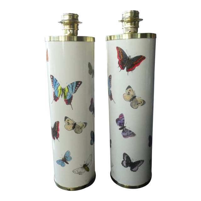 Fornasetti Butterfly Table Lamps in White, 1960s - a Pair For Sale