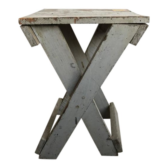 19th Century Rustic Painted Side Table For Sale
