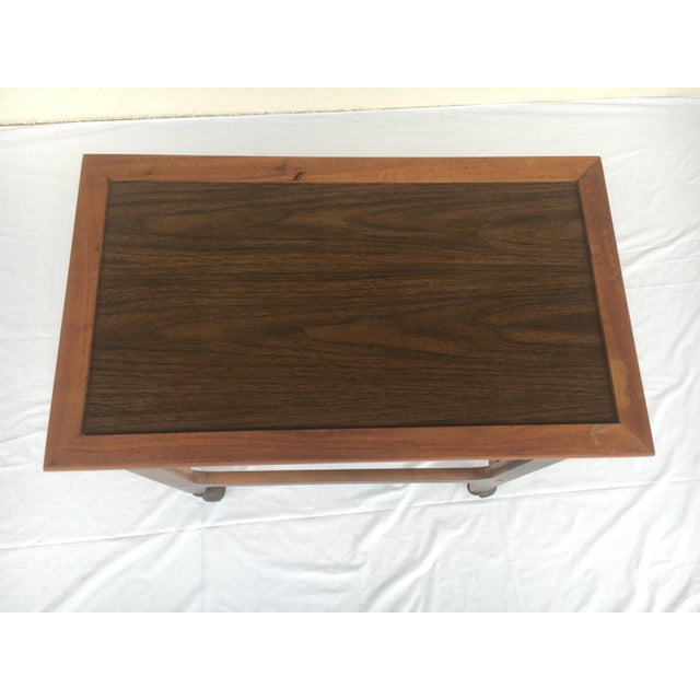 Mid-Century Modern Small Mid-Century Modern Wooden Rolling Tray Table Cart For Sale - Image 3 of 12