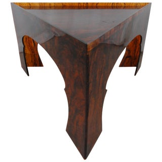 1970s Hollywood Regency Faux Tortoiseshell Acrylic Triangle Table - Large For Sale