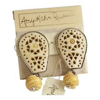 Amy Kahn Russel Hand Carved Bone Earrings on Card For Sale