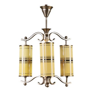 Art Deco Chandelier With Yellow Glasses For Sale