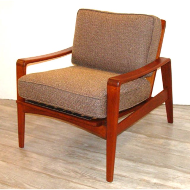 Mid-Century Modern Vintage Arne Wahl Iversen Chair and Ottoman Two Sets For Sale - Image 3 of 11