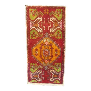 Vintage Mid-Century Oushak Yastik Rug - 1′5″ × 2′1″ For Sale