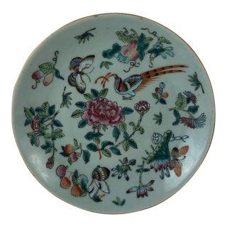 Antique Chinese Fencai Celadon Porcelain Plate Da Qing Tohgzhi Nian Zhi Ca: Late 1800s with Box & Receipt For Sale