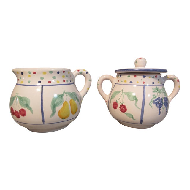 Mesa International Fruit Bouquet Sugar Bowl & Creamer 1989 Hand Crafted in  Italy