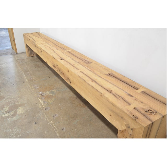 OZShop Antique Oak Beam Waterfall Bench For Sale - Image 4 of 5