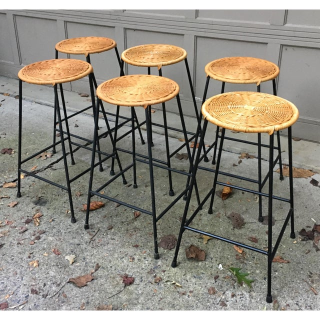 1960s Vintage Danny Ho Fong Iron and Wicker Bar Stools - Set of 6 For Sale - Image 11 of 11