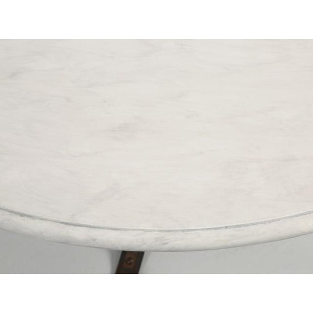 Small French White Faux Marble Top Kitchen or Game Table For Sale In Chicago - Image 6 of 10