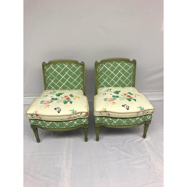 French Style Green-Painted Slipper Chairs - A Pair For Sale - Image 13 of 13
