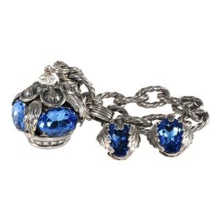 Napier Bracelet Earrings Crown Charm Garland Blue Rhinestones Vintage For Sale