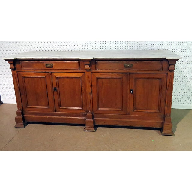 Brown Continental Style Marble Top Sideboard For Sale - Image 8 of 8