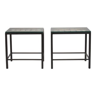 Pair Custom End Tables Made with Decorative French Grill For Sale