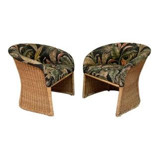 Sculptural Wicker Club Tropical Chairs - a Pair For Sale