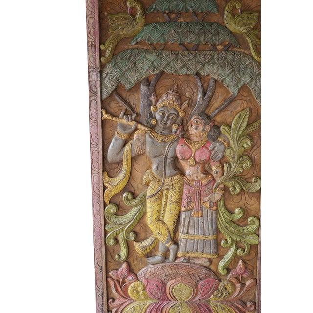 Asian Indian Carving Door Panel Krishna Radha Under Kadambari Tree Wall Relief Sculpture For Sale - Image 3 of 5