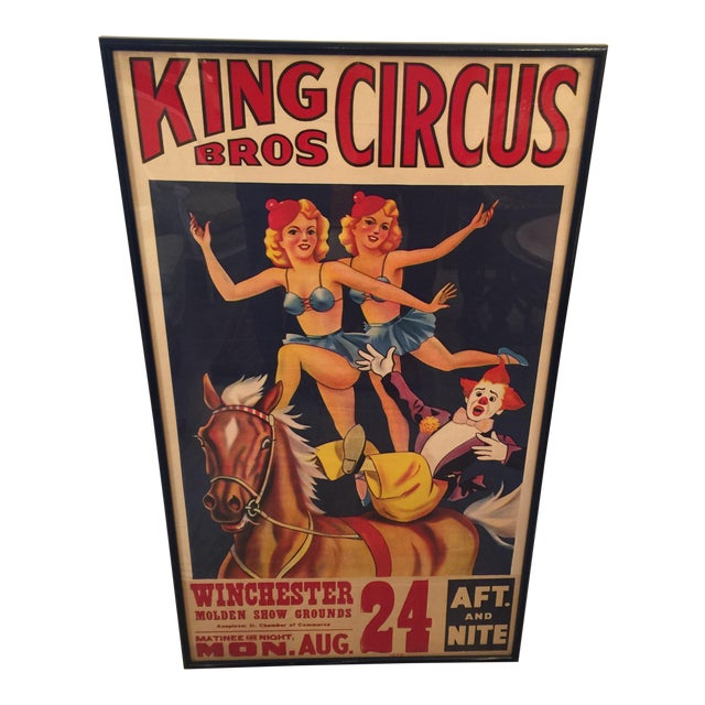 1959 Vintage King Brothers Circus Poster For Sale