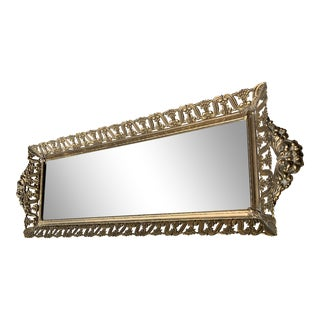 Vintage Brass Vanity Mirror For Sale