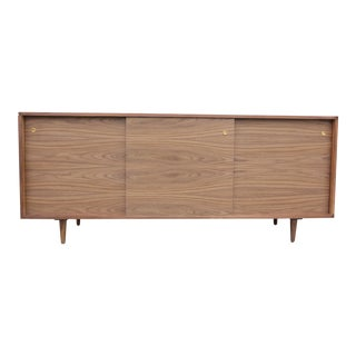 Mid-Century Style Long Walnut Credenza For Sale