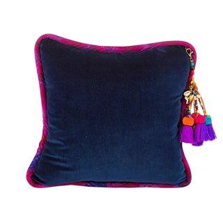 Navy / Navajo Road Velvet Throw Pillow For Sale
