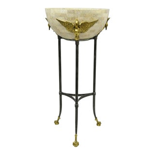 Maitland Smith French Empire Brass Swan Tessellated Marble Planter Jardiniere For Sale