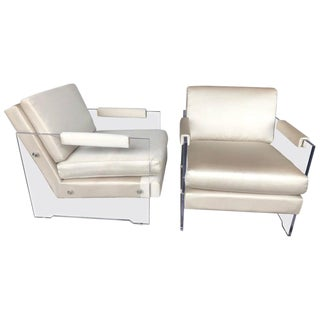 1980s Vintage Lucite and Silk Armchairs- A Pair For Sale